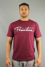 Primitive Apparel Nuevo Script Mens Regular Fit Crew Neck T-Shirt Burgundy Red