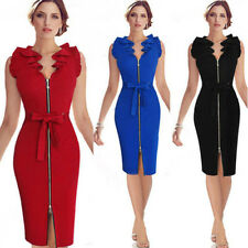 Chic Women Casual Zip Front Zipper Vent Slit Sleeveless Belted OL Business Dress