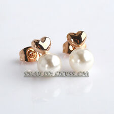 Fashion No Stone Heart Stud White Pearl Earrings 18KGP