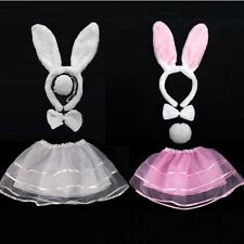 Party Cat Bunny Ears Pink White Head Band Bow Tie Tail Dress Cosplay Costume