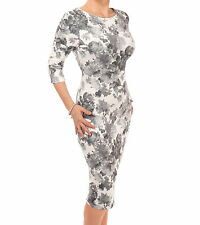 New Grey and Ivory Floral Shift Dress - Three Quarter Length Sleeves