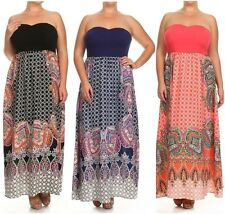 Plus Maxi Dress 1X 2X 3X Boho Paisley Full Length Strapless Tube Casual Womens