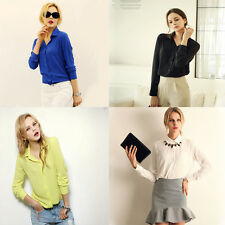 1x Women Lady Fashion Autumn Blouses Chiffon Long Sleeves Solid Sexy Casual Tops