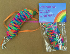Knitted Willy Warmer ~ Rainbow Knitted Willy Warmer ~ Adult Rude Novelty Gift