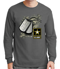 Proud Brother Men's Long Sleeve T-shirt US Army Tag Tee - 1328C