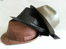 WORN LEATHER LOOK TRILBY RETRO SKA FEDORA PORK PIE HAT CAP reggae ska Music Fes