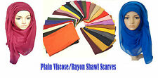 Ladies Big Large Maxi Plain Viscose/Rayon Shawl Scarf Hijab Sarong Wrap Cape-vis