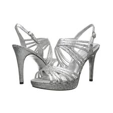 Adrianna Papell Aiden Strappy Slingback Sandal Shoes Silver New Prom Wedding 7.5