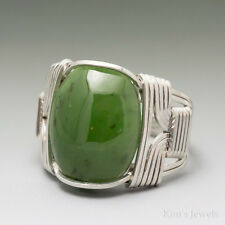 Nephrite Jade Sterling Silver Wire Wrapped Cabochon Ring