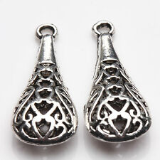 2/5Pcs Hollow Out Tibet Silver Charms Pendants Carved Smooth Crafts DIY 30*14mm