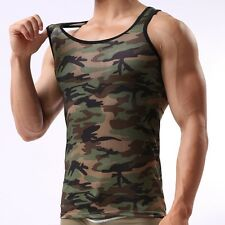 Men's Army Posture Camo Camouflage Muscle GYM Sleeveless T-Shirt Tank Top Vest