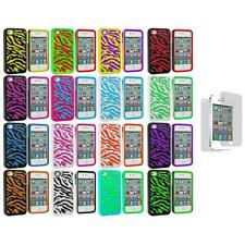 Hybrid Zebra Hard/Soft 2-Piece Cover Case+3X LCD Protector for iPhone 4 4G 4S