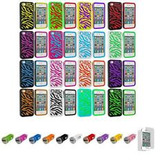 For iPhone 4 4S Hybrid Zebra Hard/Soft 2-Piece Case Cover+Car Charger+LCD