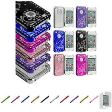 For iPhone 4 4S Flower Luxury Bling Rhinestone Case Cover+Screen Protector