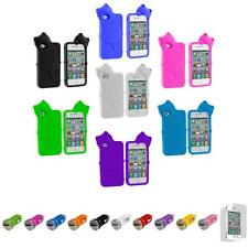 For iPhone 4 4S Kitty Cat Color Silicone Skin Case Cover+Car Charger+LCD