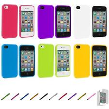 For iPhone 4 4S Color TPU Rubber Gloss Solid Cover Case+Screen Protector