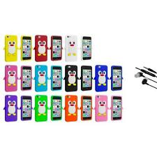 For Apple iPhone 5C Penguin Case Silicone Cute Soft Gel Skin Cover+Earphone Mic