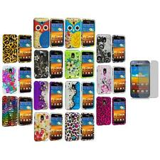 Design Hard Rubberized Cover Case+3X LCD Protector for Samsung Sprint Galaxy S2