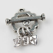 2/5Sets Carved Smooth Ring Toggle Clasps Hooks Tibet Silver Making 25*13+19*3mm