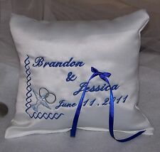 Personalized White Wedding Ring Bearer Pillow w Embroidered Dove Border Ring Boy