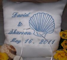 Personalized White Wedding Ring Bearer Pillow Embroidered Sea Shell Wedding Gift