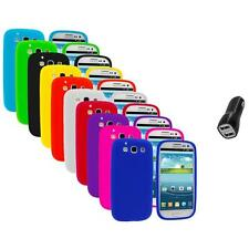 Silicone Rubber Color Case Cover+2.1A Charger for Samsung Galaxy S III S3 i9300