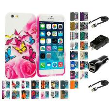 For Apple iPhone 6 (4.7) TPU Design Silicone Soft Rubber Case Skin 2X Chargers