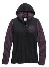 Harley-Davidson Women's Animal Print Arm Hooded Henley, Black/Purple. 96164-16VW