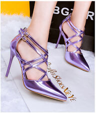 Sexy Solid Color Strappy Pointed-toe Sandals Stilettos High Heels Women Shoes