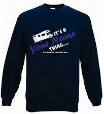 MOTORHOME NAME THING PERSONALISED JUMPER CAMPING JUMPER SWEATSHIRT SIZES S-XXL