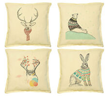 Vietsbay Animals in sweater Printed Khaki Decorative Pillows Cover Case VPLC_02