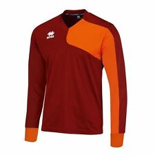 ERREA MARCUS 5 X SHIRT & SHORT SET LS TRAINING MATCH FOOTBALL JNR MAROON ORANGE