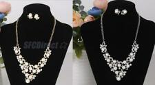 Fashion Wedding Faux Pearl Rhinestone Necklace and Earring Jewelry Set for Bride