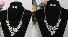 Party Design Diamante Pearl Rhinestone Siver/Gold Necklace and Earring Sets