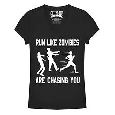 CHIN UP Zombies are Chasing You Juniors Graphic V Neck