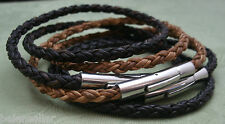 Men's Leather Bracelet Leather Double Wrap Bracelet Round Braided Leather