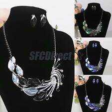 Fashion Women Jewelry Set Calla Lilies & Peacock Necklace and Earring Bib Front