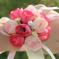 Chic Bridal Faux Flower Bracelet Wrist Hand Corsage Wedding Accessory Buds Band
