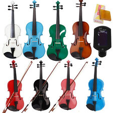 New 4/4 Acoustic 8 Color Violin + Case + Bow + Rosin Natural+ Clip Violin Tuner