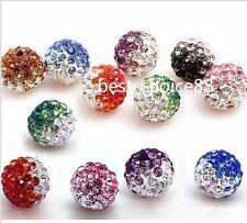 Free Ship 10/50pcs Disco Ball Pave CZ Crystal Spacer Beads Fit Bracelet 8-12mm