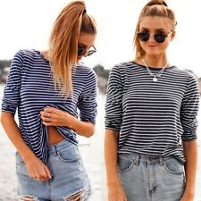 Womens Girls Casual Top Tees Loose Round Neck Long Sleeve Stripe Stretch T-Shirt