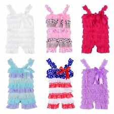 0-3 Y Summer Baby Girls Petti Ruffle Romper Toddler Bowknot Lace Beach Outfits