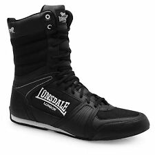 Lonsdale Contender Boxing Boots Mens Black/White Trainers Sneakers Gym Shoes