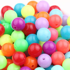 Lots 20/100Pcs Mixed Round Glossy Acrylic Spacer Bead Jewelry Findings 10/12mm