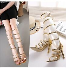 Knee High Boots Strappy Buckles Cage Open Toe Gladiator Sandals Pumps Party Club