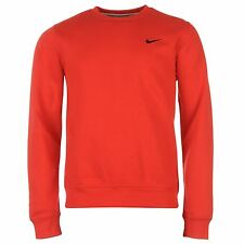 Nike Fundamental Fleece Crew Neck Sweatshirt Mens Red Pullover Sweater Jumper