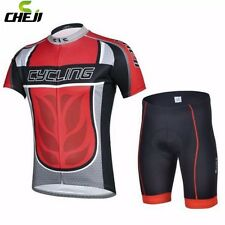 CHEJI Men Team Summer Cycling Jersey Bib Shorts Bicycle Bike Clothing Red S-XXXL