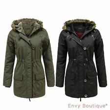 Ladies Womens Faux Fur Hooded Padded Quilted Military Parka Jacket Coat