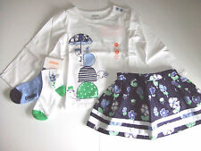 NWT Gymboree SPRING PREP Size 2T or 2T 3 pcs Turtle Top Socks & Floral Skirt