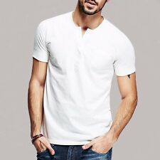 100% Cotton Mens Casual Placket collar T-Shirt Short Sleeve Solid White M to XXL